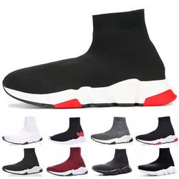 chaussettes à pied blanc Promotion 2019 Balenciaga designer Speed Trainer mode luxe hommes femmes Chaussettes Chaussures noir blanc bleu oreo plat sport sport Runner taille 36-45
