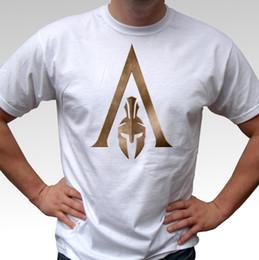 2019 logotipo do credo assassins Assassins Creed Odyssey logotipo branco camiseta top - mens e crianças tamanhos verão o pescoço tee, frete grátis tee barato, 2019 hot tees desconto logotipo do credo assassins