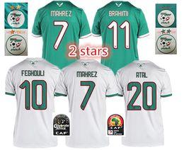 2019 Coppa d'Africa 2 stelle Algeria MAGLIE DI CALCIO CASA LONTANO AFCON MAHREZ FEGHOULI BRAHIMI BOUNEDJAH BOUAZZA 19 algerie MAGLIE DA CALCIO da
