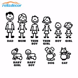 family window decals Promo Codes - DIY self-adhesive Figure Family Decals Die Cut Vinyl Sticker Fam Bumper Car Window Slaps Family Fun Dog Cat Baby Children L826