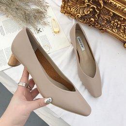 2019 женские туфли на каблуках Туфли на высоких каблуках Сандалии на высоком каблуке Женские осенние ботинки с резинкой Slip-On Med Office Lady Сплошной цвет с квадратным носком allmatch дешево женские туфли на каблуках