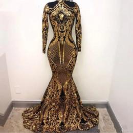 2020 lentejuelas de oro noche kaftan musulmán Oro árabe musulmán manga larga sirena vestidos de noche 2019 lentejuelas Bling marroquí Kaftan vestido de fiesta vestidos de fiesta formales para mujeres rebajas lentejuelas de oro noche kaftan musulmán