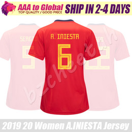 spain soccer jersey women Promo Codes - WOMEN SPAIN jersey 2020 Camisa de mujer Espana A.INIESTA ASENSIO RAMOS SERGIO PIQUE ISCO lady Soccer Jersey Female Football shirts