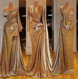 imagenes de la alfombra roja Rebajas 2020 reflectante de oro de la sirena vestidos de baile con alta lateral abierto atractivo del hombro de manga larga vestido de noche formal del concurso