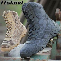 2019 botas de camuflaje táctico Botas de camuflaje de pitón transpirables Fuerzas especiales Botas militares tácticas Desert Army Trekking Zapatillas de deporte de senderismo al aire libre # 97139 botas de camuflaje táctico baratos