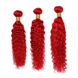 """Tejido ondulado rojo del cabello humano online-Deep Wave Bright Red 3Bundles Indian Virgin Human Human Weaves Longitud mixta Pure Red Color Deep Wavy Extensiones de trama de cabello humano 10-30 """""""