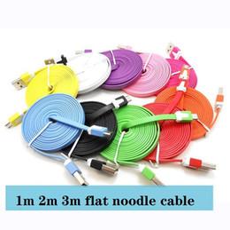 cavo di micro usb noodle piatto 3m Sconti cavo piatto noodle 1m 3FT 2m 6FT 3M 10FT Micro V8 5pin piane dati noodle cavo USB di ricarica per Samsung s4 s6 s7 per htc lg
