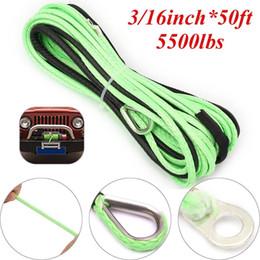 2019 tremonhas Verde linha de guincho de 3 / 16inch * 50ft ATV UTV, cabo de corda de guincho sintético com dedal desconto tremonhas