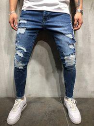2020 jeans lunghi di chiusura lampo Moda jeans a righe di stampa Vecchi lunghi matita pantaloni stretti Blu Zipper Via Belle Hip Hop Abbigliamento Uomo jeans lunghi di chiusura lampo economici