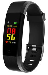 Smartphone herzfrequenz online-115 Plus Smart Armband 0,96 Zoll LCD-Bildschirm Armband wasserdicht für IOS Android Smartphone tragbare Herzfrequenz Blutdruck