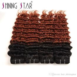 Ombre cabelo tecer 33 on-line-Onda profunda ombre feixes com fecho estrela brilhando venda quente cabelo brasileiro de seda Ombre 1B 33 Deep Weave 3 pacotes com laço de encerramento