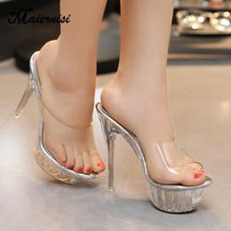 MAIERNISI Damen Sandalen Sommer Transparent Dünn High Heels Sandalen Damen Freizeit Hausschuhe Mode Kristall von Fabrikanten