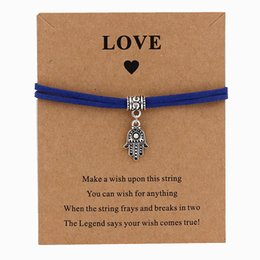 neue königliche schmucksachen Rabatt 2019 neue hamsa palm charm wunsch karte armband glück königsblau schwarz handgefertigte anhänger armband für frauen männer schmuck yoga geschenk