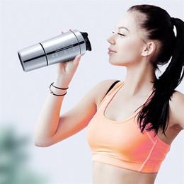 2019 metallschüttlerbecher Qualitäts-Protein-Pulver Shaker Edelstahl Shaker Sport Fitness Metall Wasser Thermal Cup Protein Blender Bottle günstig metallschüttlerbecher
