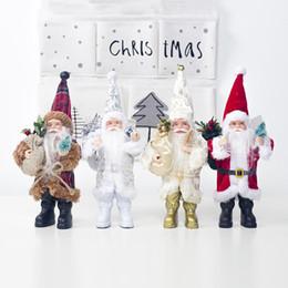 decorazioni natalizie di babbo natale Sconti Natale Babbo Natale Doll Ornament Decoration Collezione di figurine Tradizione permanente Tabel Decor Rosso nero con albero