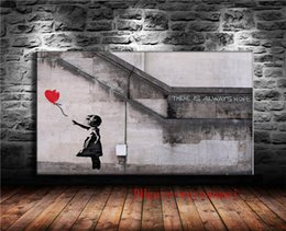 2020 lona de arte banksy Banksy menina com o balão vermelho, lona Pieces Home Decor HD Impresso Arte Moderna pintura em tela (Unframed / Framed) lona de arte banksy barato