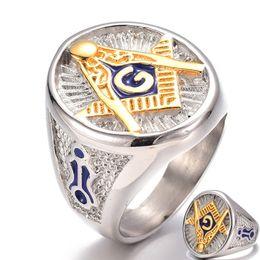 2019 anéis dourados do menino Aço inoxidável Vintage azul Masonic Totem anel para homens Freemason Símbolo G Maçonaria Templária Homens Anéis de ouro Letter A Ring