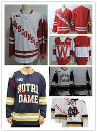 Maglia da hockey da uomo irlandese Notre Dame Fighting cucita rosso bianco vuoto Wisconsin Badgers maglia da hockey S-3XL da notre dame fighting irish jersey fornitori