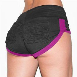 Heiße yogahose-shorts online-Frauen Yoga Hot Shorts dünne Drape Sexy Sport schließt dünnen Lauf Kontrast-Farben kurze Hosen Neu