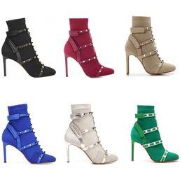 Estiramento on-line-Pregos de grife botas de meia Bota de tornozelo de salto alto couro aparado estiramento malha meias de gaiola gaiola Rebite Botas 105mm para mulher US4-10 com caixa