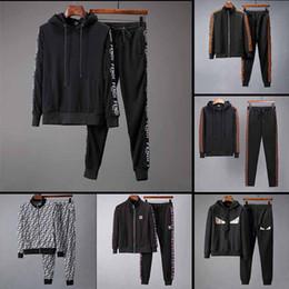 lazer dos homens Desconto 2018 designer de moda da marca outono inverno men clothing mens jogging fatos de treino carta de impressão bordados casual sports lazer terno
