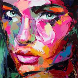 2019 malerei bestellen Francoise Nielly Spachtel Abformung Home Kunstwerke Modernes Porträt Handgemachtes Ölgemälde auf Leinwand Konkave und Konvexe Textur Face214