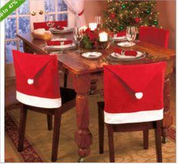 Cena de navidad decoraciones de fiesta online-Funda de silla de Navidad de alta calidad Sombrero rojo de Santa Claus para la cena Decoraciones Decoraciones para el hogar Mesas Decoraciones para fiestas Decoraciones navideñas