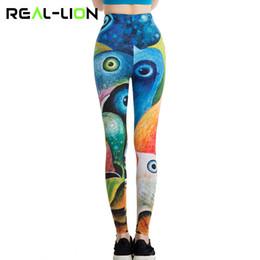 Colorati collant da corsa online-RealLion Peacock Eyes Pantaloni Leggings da palestra alla caviglia Colorati Vestiti da yoga per donne Running Tights Pantaloni sportivi Elastic # 317566