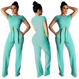 tuta da donna delle donne nere Sconti Estate Solid Black Pink 2 due pezzi Set manica corta Top pantaloni donna Tuta Casual Suit Tute da donna
