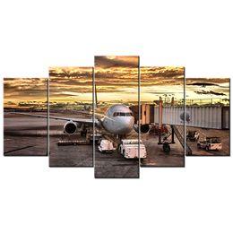 2019 flugzeug gemälde Flugzeug am Flughafen Schiphol 5 Stück moderne Leinwand Gemälde Wandkunst Bild für Inneneinrichtung günstig flugzeug gemälde