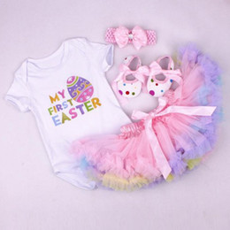 Bodysuit 24 online-DHL 2019 Baby girl Easter egg Outfit Tutu My first Easter clothing Body + Tutu skirt + shoes + Fascia 4 pezzi / set Hotsale