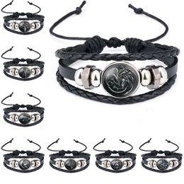 Bracelets à loup en Ligne-Tête de loup Game of Thrones A Song of Ice et Logo feu Bracelet en cuir garçons Cabochon en verre Bracelet