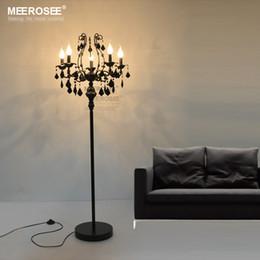 candelabro em pé Desconto Vintage 5 luzes de cristal lâmpada de assoalho, suporte de chão luminária de cristal lustre de cristal candelabros em pé lâmpada peça central