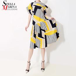 vestido lindo estilo coreano Rebajas Nuevo 2019 estilo coreano de las mujeres vestido de verano de rayas amarillas impresas mujer linda Midi Casual Party Club vestidos Robe Femme 5013 Q190422