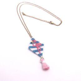 flamingo halskette anhänger Rabatt JOYE personalisierte Quaste MIYUKI bester Freund Halskette Gold Anhänger Flamingo Reis Perlen Edelstahl Kette Anweisung Halskette