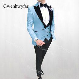 2019 esmoquin verde azul Gwenhwyfar 2019 Tailored Sky Blue Red Green Men Suit Set Blazer Tailcoat Novio Esmoquin para hombre Boda Prom trajes Chaqueta Chaleco Pantalones rebajas esmoquin verde azul