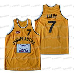 Spedizione Mens Toni Kukoc Jersey 7 Jugoplastika Spalato Moive pallacanestro maglia gialla cucita libero da giallo uniforme di pallacanestro verde fornitori