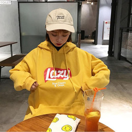 2019 niedliches koreanisches sweatshirt Frauen-nettes faules Buchstabe-Gelb-Hoodie-Sweatshirt-Art- und Weiseharajuku-loses Vlies-Sweatshirt übersteigt koreanischen mit Kapuze Trainingsanzug Meletom SH190821 rabatt niedliches koreanisches sweatshirt