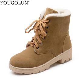 sapatos de salto curto vermelho Desconto Lace Up Botas De Neve Mulheres Inverno Botas Curtas Das Senhoras Saltos Quadrados Mid A278 Moda Sapatos Quentes Mulher Vermelho Preto Apricot Ankle
