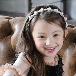 2019 perles en perles Perles pour les filles perruques pour cheveux boutique de perles de fleurs princesse hairbands enfants fête d'anniversaire accessoires de cheveux fête pageant coiffe perles en perles pas cher