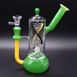 plate-forme pétrolière verte en ligne Promotion Les bangs en verre de beaker de Hunter Innner tournent les rangées de recycleur de Dab de rampes de 7,8 pouces de narguilé 14mm de joint de gisement de pétrole de Shisha de tuyau d'eau vert d'épaisseur