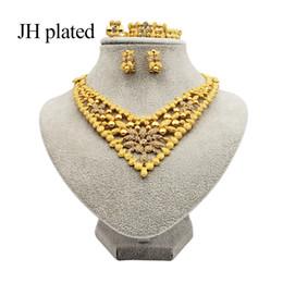 2019 oro etioco le donne di modo JHplated etiope gioielli color oro impostato sposa collana Wedding braccialetto anello dell'orecchino africana Eritrea set da regalo sconti oro etioco