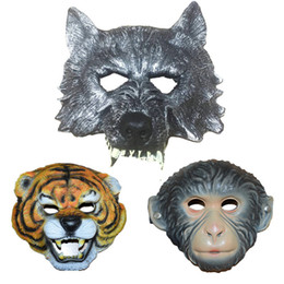 animal fancy dress accessories Coupons - New Scary Dress Accessory Wolf Head Tiger Wolf Monkey Animal Mask Environmental Fancy Prop for Halloween Cosplay Make up