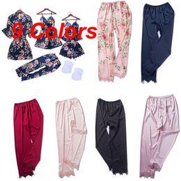 87c43b4970 2019 New Sexy Women Silk Satin Pajamas Sleepwear Nightwear Loungewear  Homewear Long Pants
