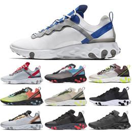 zapatos solares Rebajas Nike React Element 55 87 Shoes Zapatos para correr Triple Negro Blanco Antracita Naranja Tinte Real Solar Rojo Mujeres Hombres Entrenador Zapatillas deportivas 36-45
