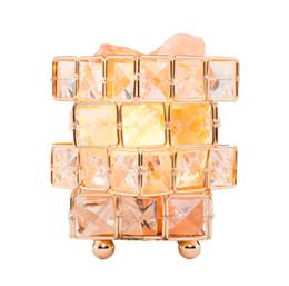 lotus lumière bouddha Promotion Himalayan Naturel Sel De Roche Cristal Lampe De Sel Tissé En Verre Cristal Anion Rose Cube De Sel Nuit Veilleuse Chambre Décoration et Éclairage, Inclus