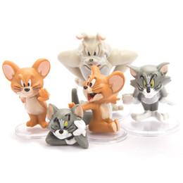 gâteau ornements Promotion 5 chat et souris gâteau décoration ornements dessin animé anime Tom Jerry fait à la main PVC action figure modèle poupées classiques jouets enfants cadeaux V092