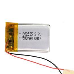 Casque bluetooth batterie rechargeable en Ligne-3.7V 500 mAh Li polymère ion Mp4 Bluetooth stylo GPS Lunettes de remplacement 602535 interphonie rechargeable Batteria