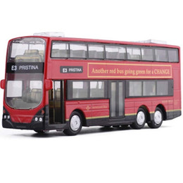 Vecchie leghe online-1:43 2 piani London Double Decker Bus Model Toy Cars lega Hong Kong Luce Musica Old-fashion Car Toys Per I Bambini J190525
