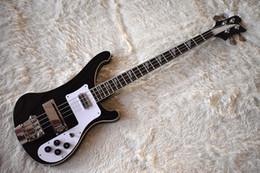 Schwarze chrom-gitarren-hardware online-Fabrik Custom Black E-Bass mit 4 Strings, Chrom Hardware, Weiß Schlagbrett, Qualität, kann angepasst werden